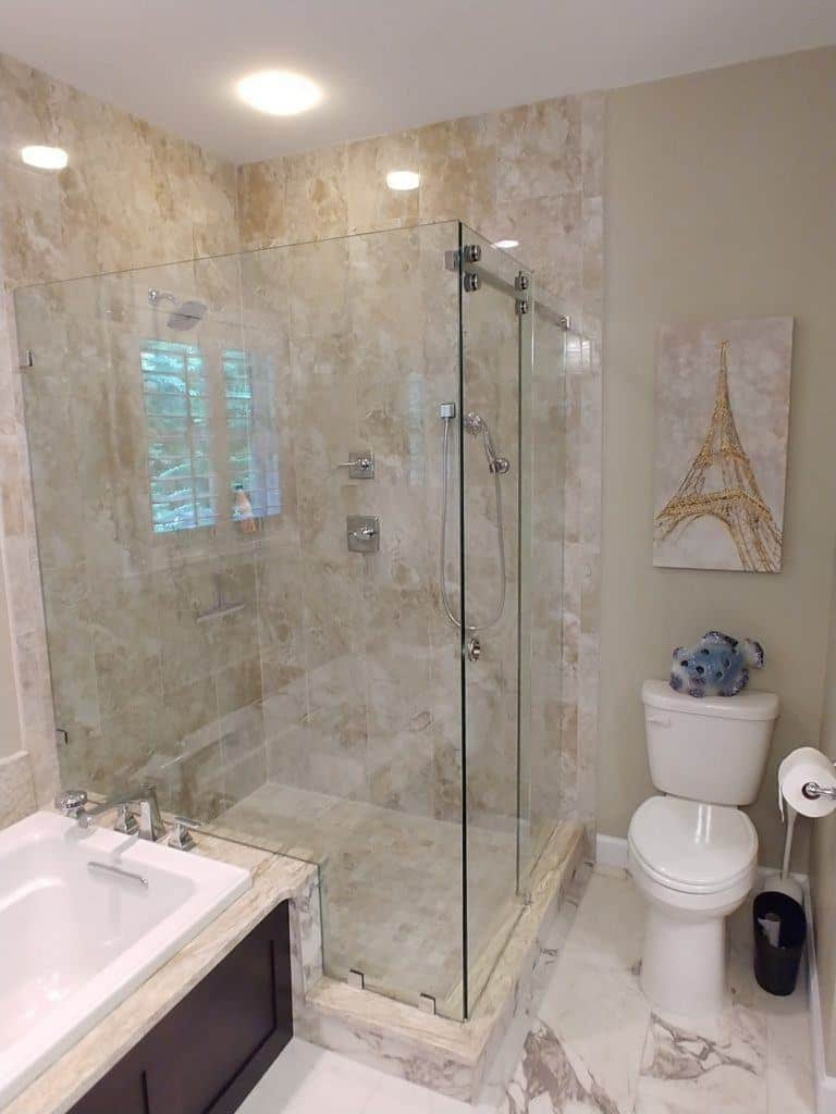 Residential Glass Work: Frameless All-glass Shower Enclosures for Bathroom Doors near me